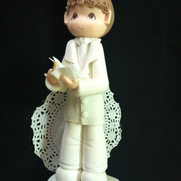 First Communion Cake Topper, Baptism Cake Topper Boy, Boy Baptism Cake Decoration, First Communion Boy In white Gown Holding a Bible Topper