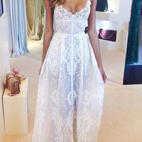 White Sheer Floral Lace Maxi Dress