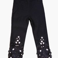 Rhinestone and Crochet Patch Midi Leggings