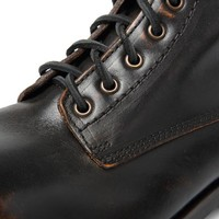 USED EFFECT LEATHER DESERT SHOES NERO