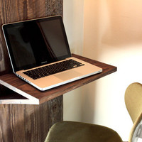 Barn Wood Laptop Desk w/ Industrial Built-in Lamp // Reclaimed Wood // Urban Design // Cage Light Sconce // Eco-Friendly Furniture