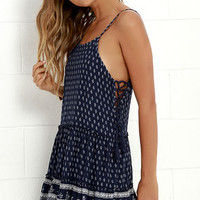 Wildflower Bouquet Navy Blue Print Lace-Up Dress
