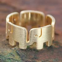Gold plated band ring, Elephant Pride