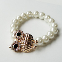 """White Pearl Gold Rhinestone Owl  Connector Stretchy Elastic  Bracelet, Fits up to 8.5"""" CIJ ChristamsinJuly"""