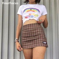 Streetwear vintage harajuku korean sweet cute girl unif style soil orange color plaid mini short skirt high waist skirt