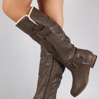 Wild Diva Lounge Shearling Cuff Lining Knee High Boots