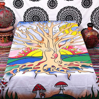 Twin Tree Of Life tapestries , Hippie Tapestries , Bohemian Boho Coverlet , New Age Dorm Sheet ,Wall Tapestries, Tapestry Wall Hanging,