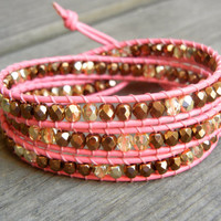 Beaded Leather Wrap Bracelet 3 Wrap with Metallic Bronze and Gold Czech Glass Beads on Pink Leather