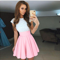 Sexy Party Lace Patchwrok Short Sleeve High Waist Mini Dresses