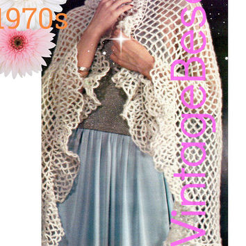 DIGITAL PATTERN • SHAWL Crochet Pattern • Easy to Crochet • Great for Beginners Chain Loops plus Ruffle • Ladies 1970s Vintage Wrap • PdF