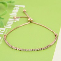 Women Rhinestone Cubic Zirconia Bracelet Fashion Adjustable Bangles Jewelry Nice Bracelet Gift