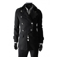 Men Black Double-Breasted Button Wool Blend Coat M/L/XL@X1004NH12S5F08bla