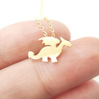 Classic Dragon Silhouette Shaped Pendant Necklace in Gold   Animal Jewelry