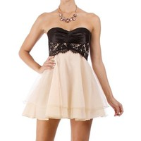 Adabelle-Black/Nude Homecoming Dress