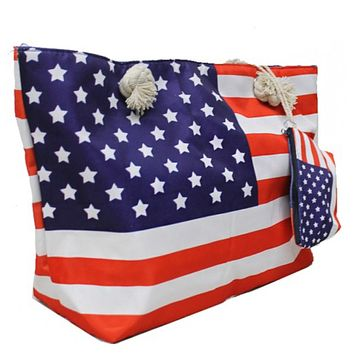 American Pride, American Flag Tote Bag with Coin Pouch