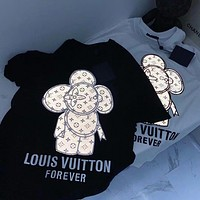 LV 2020 new embroidery laser reflective sun logo round neck half sleeve T-shirt