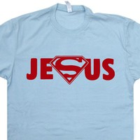 Super Jesus T Shirt Jesus Superman Logo T Shirt Cool Christian T Shirts