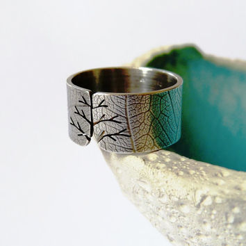 Textured autumn tree ring, Sterling silver ring, wide band ring with leaf texture, metalwork jewelry, satine finish