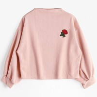 Lantern Sleeve Rose Embroidered Patches Sweatshirt