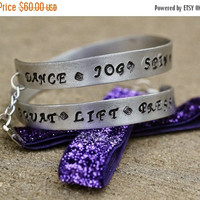 40% SALE Women's Fitness Inspired Silver & Purple Wrist Wrap Bracelet, Dance Exercise Zumba Jewelry, Sparkly Wrist Cuff, Stamped Silver Wrap