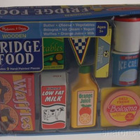 Melissa & Doug Wooden Fridge Food 9 Hand Painted Pcs Waffles Bologna Cheese Milk