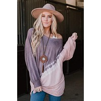Ride This Wave Tie Dye Tunic Top - Purple