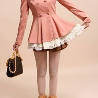 OASAP - Double Breasted Bead Embellished Trench Coat - Street Fashion Store