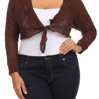 Plus Size Ruffle Knit Tie Front Crop Sweater Shrug