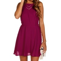 Plum X Back Skater Dress