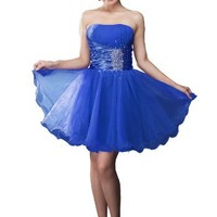 Moonar® Chiffon Lovely Straight Across Strapless Prom Gown Homecoming Dress