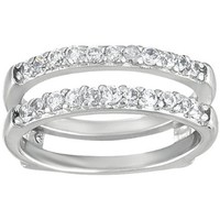 Cubic Zirconia Double Shared Prong Straight Ring Guard mounted in Sterling Silver (0.51 ct. twt. of Cubic Zirconia)