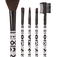 FOREVER 21 Tribal Print Cosmetic Brush Set Black/White One