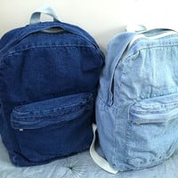 Preppylook Simple Solid Color Denim Casual Outdoor Sports College Students School Backpack = 1929907972