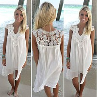 Women dress 2018 new Casual sexy summer Loose beach lace dress women sleeveless Slim Chiffon Short White Dress Plus Size vestido