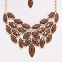 Brown-Chandelier-Leaf-Necklace/Earring-Set