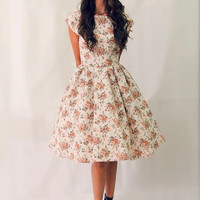 50s style floral cap sleeve bridesmaid dress, 1950s prom dress, mad men dresses, pinup tea party dress, rehearsal dinner dress MADE TO ORDER