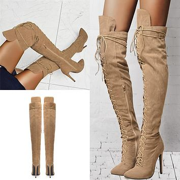 Women Suede Lace Up Over The Knee High Heel Boots