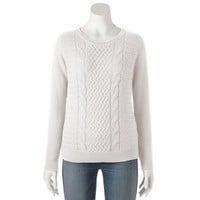 Croft & Barrow Cable-Knit Sweater - Petite
