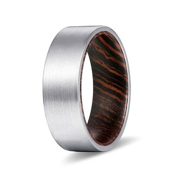 KAYO Men's Pipe Cut Tungsten Carbide Ring w/ Wenge Wood Sleeve - 8mm