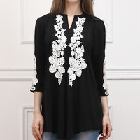 Reborn Collection Black Lace-Appliqué Notch Neck Tunic | zulily