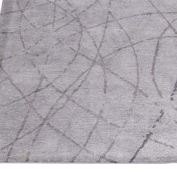 Abstract Grey Color Hand Knotted Tibetian Modern Style Bamboo Silk Area Rug