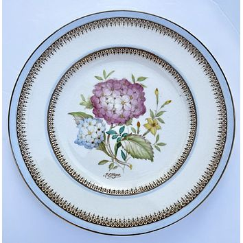 Lt Blue Antique Signed Hand Painted Hydrangeas Botanical Transferware Plate English Cottage