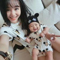 Family matching outfit Short Casual Cotton Character T-Shirts fashion mother kids mommy mom baby dady clothes