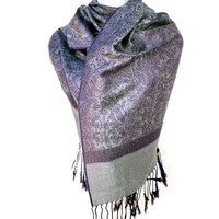 Silver Fever® Jacquard Paisley Pashmina Shawl Scarf Stole By Silver Fever® Brand (Purple/Ivory)
