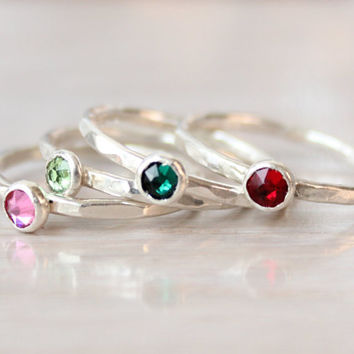 Stackable mothers ring, birthstone rings, sterling silver, Swarovski crystal, birthstone jewelry, birthday gift for mom, hammered thin rings