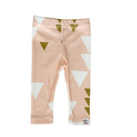 pink triangle leggings, baby girl leggings, triangle pink leggings, tribal girl leggings, aztec girl leggings, pink gold leggings,