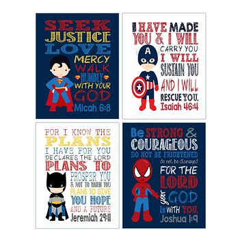 Superhero Christian Nursery Decor Set of 4 Prints, Batman, Captain America, Superman and Spiderman