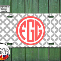 Coral And Gray Diamond Pattern Monogram Cute Cool Initials Personalized For Front License Plate Car Tag One Size Fits All Vehicle Custom