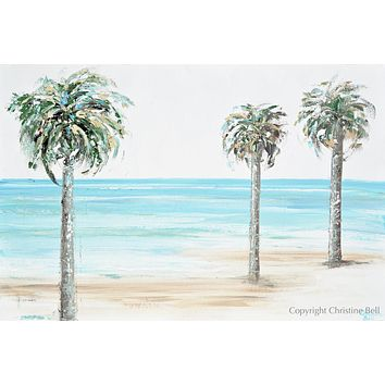 """Palm Beach"" ORIGINAL Art Coastal Abstract Painting Textured Palm Trees Beach Wall Art 36x24"""
