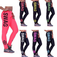 Summer High Stretched Letter Printed Lady Skinny Pants SWAG Fitness Running Leggings Women Sport Leggings Street Wear S M L XL = 1932096452